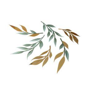 Papieren tafeldecoratie takjes groen & goud (6st)